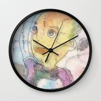 notebook Wall Clocks featuring boy with notebook by Osome Beamer