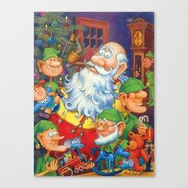 Santa & Elves in Workshop Canvas Print
