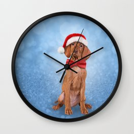 Drawing funny Vizsla pointer in red hat of Santa Claus Wall Clock