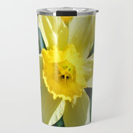 A large yellow flower of narcissus. Travel Mug