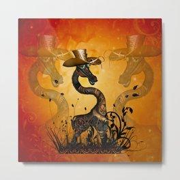 Funny steampunk giraffe with hat Metal Print
