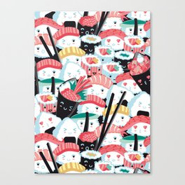 Kawaii Sushi Crowd Canvas Print