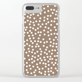 Malt Brown and White Polka Dot Pattern Clear iPhone Case