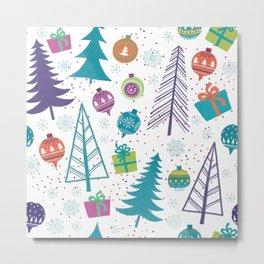 Colorful Christmas Trees and Ornaments Metal Print