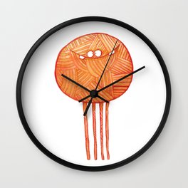 Poofy Orange Yarn Wall Clock