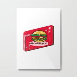 Retro 1950s Diner Hamburger Sign Metal Print