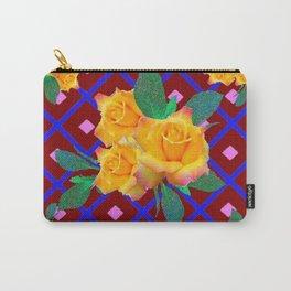 Triple Golden Rose Bouquet Purple-Blue Art Carry-All Pouch