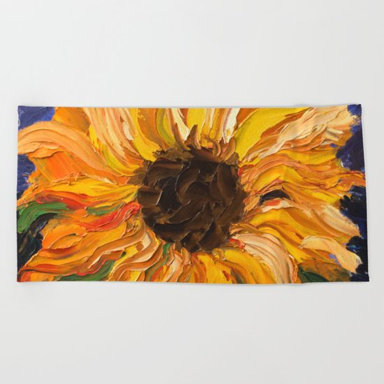 Fiery Sunflower - Original Painting Beach Towel