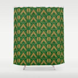 Green Sun & Mountains Abstract Retro Shower Curtain