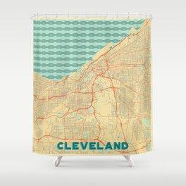 Cleveland Map Retro Shower Curtain