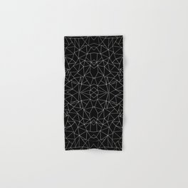 Abstract Collide Outline White on Black Hand & Bath Towel