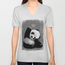 Panda Love (Monochrome) Unisex V-Neck