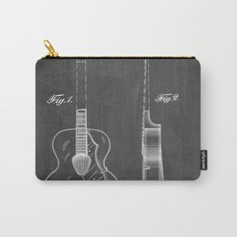 Accoustic Guitar Patent - Classical Guitar Art - Black Chalkboard Carry-All Pouch