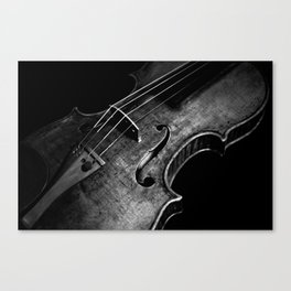 Black and White Violin Canvas Print