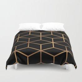 Black and Gold - Geometric Cube Design Duvet Cover