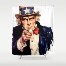 Uncle Sam Pointing Finger Shower Curtain