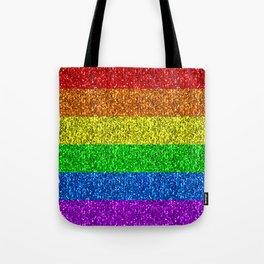 LGBT flag vibrant rainbow glitter sparkles Tote Bag