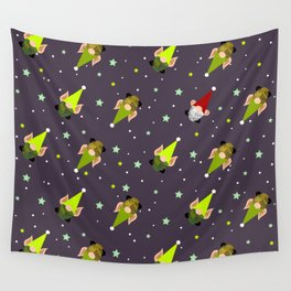 Holiday Elves-gnomes and Santa v2 Wall Tapestry