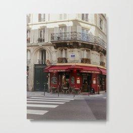 Dark red Cafe terrace in Paris, France | Restaurant, petit dejeuner | Street and travel photography fine art Metal Print