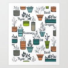 Black Border Herbs Art Print