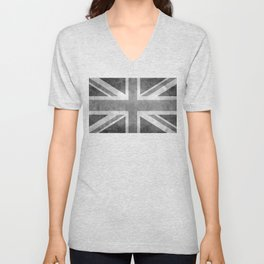 UK flag, High Quality Greyscale Retro Unisex V-Neck