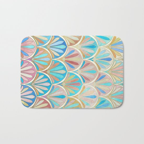 Vintage Twenties Art Deco Pastel Pattern Bath Mat