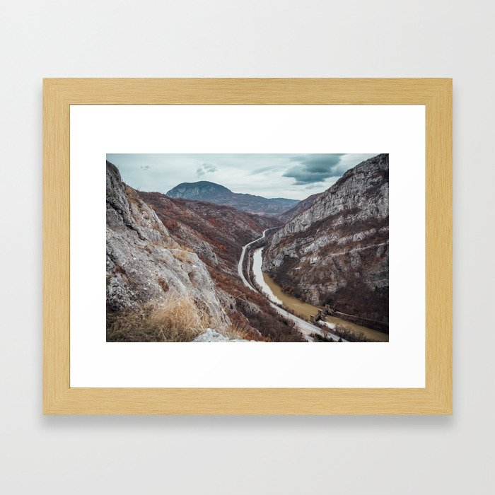 Beautiful photo of the canyon in Serbia, with river and the highway in the middle Framed Art Print