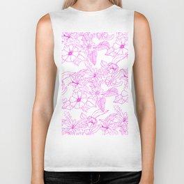 Modern pink white hand drawn floral pattern Biker Tank