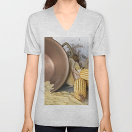 cob and pot with flour Unisex V-Neck