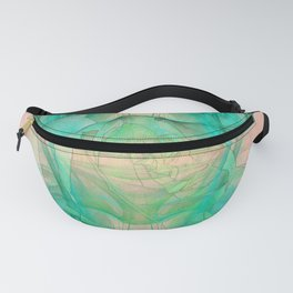 Mysterious rose emerging from the fractal space Fanny Pack