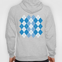 Argyle Design in Blue and White Hoody