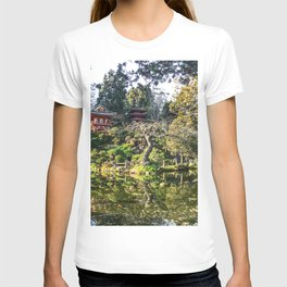 Japanese Garden | Golden Gate Park Traditional Tea House Architecture Design Trees and Pond T-shirt