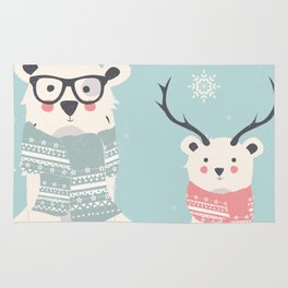 Two Cute Winter Bears Knitted Scarfs Rug
