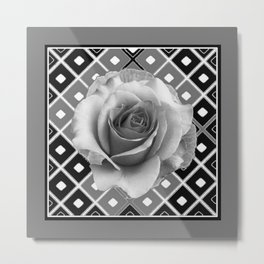 Art Deco White Rose Black-White-Grey Art Metal Print