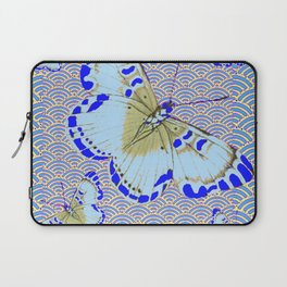 ORIENTAL STYLE BLUE-WHITE EXOTIC BUTTERFLY BLUE ART Laptop Sleeve