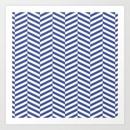 Classic blue chevron Art Print
