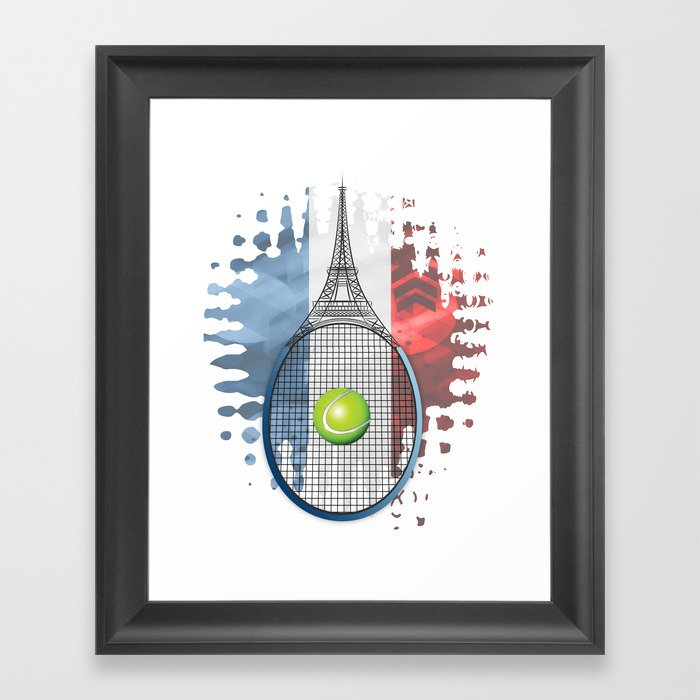 Racquet Eiffel Tower with French flag colors in background Framed Art Print