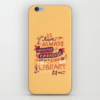 risa rodil iPhone & iPod Skins featuring Library by Risa Rodil