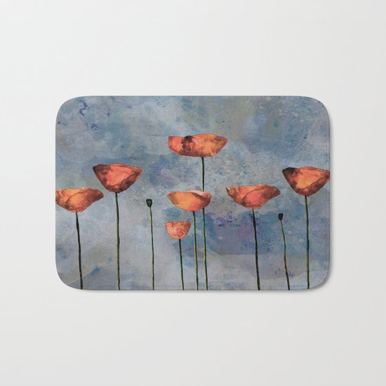 Poppyfield against the blue sky- abstract watercolor artwork Bath Mat