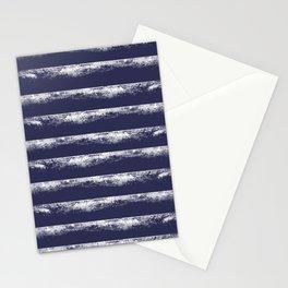Irregular Stripes Dark Blue Stationery Cards
