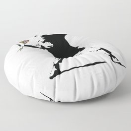 Banksy Flower Thrower Floor Pillow
