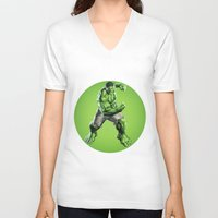 hulk V-neck T-shirts featuring HULK by Hands in the Sky