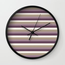 Stripes in Magenta, Lavender and Cream Wall Clock