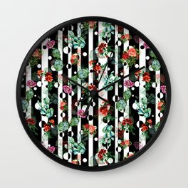 Cactus Flowers and Lines Wall Clock
