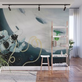 Spaceman Moon Alien and Stars Wall Mural