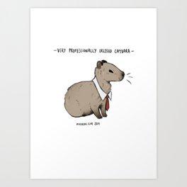 Very Professionally Dressed Capybara Art Print