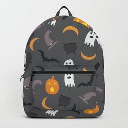 Trendy orange white gray black halloween ghost pattern Backpack