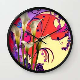 Modern Art White Calla Lilies Fantasy Garden Flowers Wall Clock