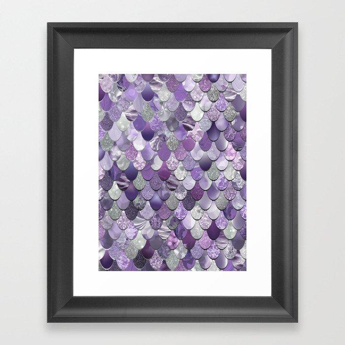 Mermaid Purple and Silver Gerahmter Kunstdruck