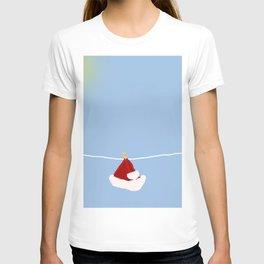 santa hat on clothesline T-shirt